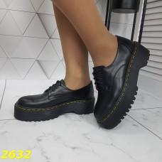 Туфли лоферы на высокой платформе массивной натуральная кожа