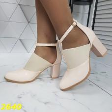Туфли деми бежевые с резинкой на устойчивом каблуке
