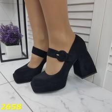 Туфли замшевые черные с ремешком застежкой на широком невысоком каблуке