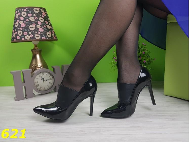 Туфли ботильоны лодочки классические лаковые с кожаной вставкой