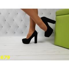 Туфли замшевые черные на удобном толстом каблуке