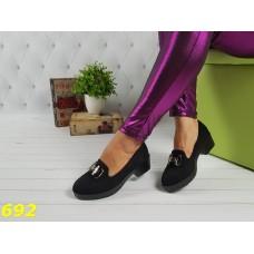 Туфли лоферы черные замшевые с пряжкой