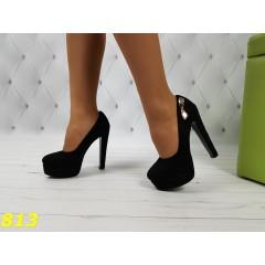 Нарядные туфли черные на платформе и устойчивом каблуке с бантиком