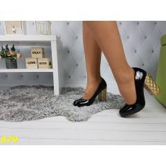 Туфли черные на толстом каблуке в стиле Шанель