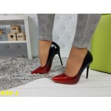 Туфли лодочки омбре черные с красным