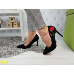 Туфли лодочки черные с вышивкой красная подошва